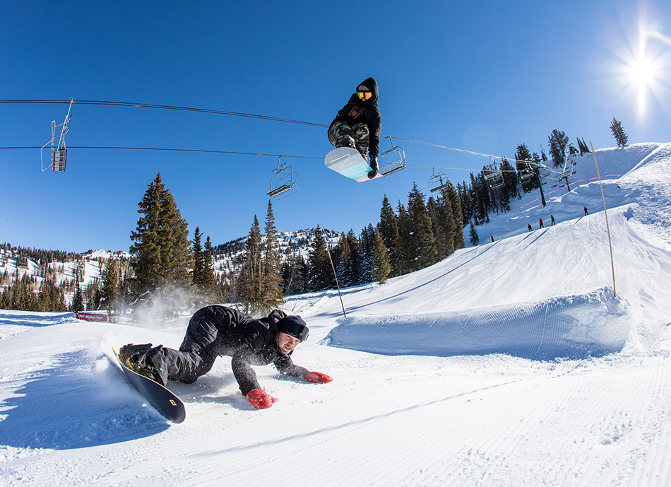 Brighton, UT: Sam Taxwood and Knut Eliassen give the first jump in the park the ol' over/under. p: Mary Walsh
